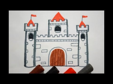 burg zeichnen lernen h user malen f r kinder how to draw a castle. Black Bedroom Furniture Sets. Home Design Ideas