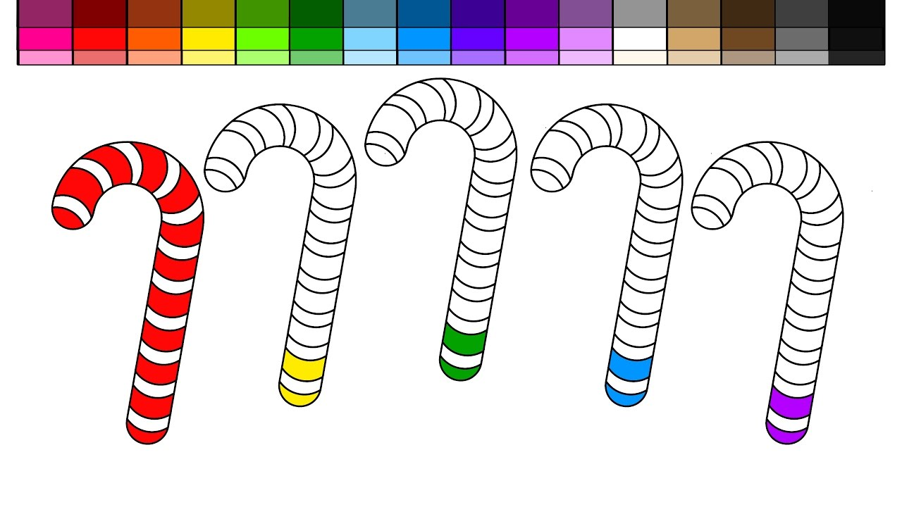 Learn Colors for Kids and Color Christmas Candy Cane Coloring Pages ...