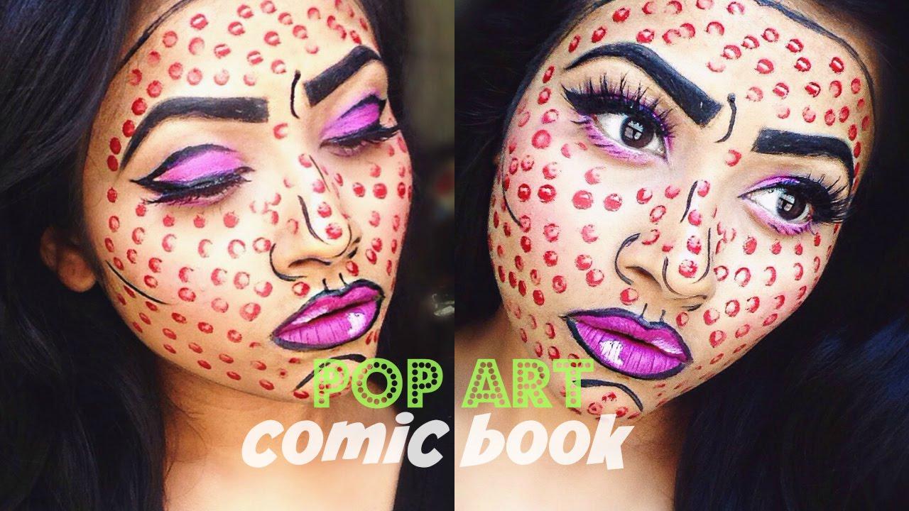 Comic Book/Pop Art inspired Halloween Makeup Tutorial | 2015 - YouTube
