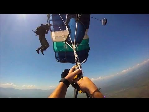 Skydiving Accident: Double Malfunction Parachute Collision -- MUST SEE