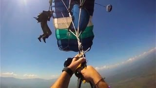 Repeat youtube video Skydiving Accident: Double Malfunction Parachute Collision -- MUST SEE