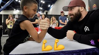 ARM WRESTLING A 9 YEAR OLD!!