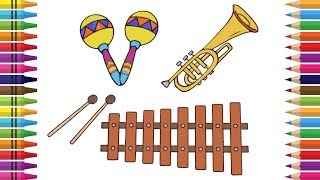 How to Draw Instruments for Kids. 🎺🎼Drawing Trumpet, Marimba and Maracas,