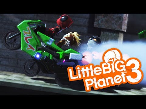 LittleBigPlanet 3 - THE MOST FUNNY MOTORCYCLE RACE EVER - Little Big Planet 3 Multiplayer