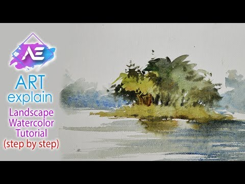 Land in river Watercolor Painting Landscape | How to paint a watercolor landscape | Art Explain