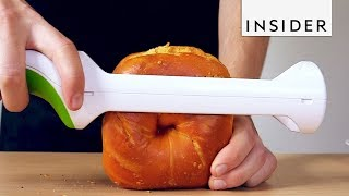 Knife Easily Cuts Bagels in Half