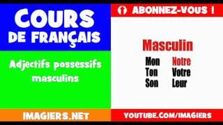 Französisch lernen = die Adjektive, die besitzergreifend = = männliche Form
