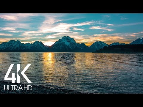 Snowy Mountains at Sunset - 8 Hours of Lake Lapping Water Wave Sounds - 4K Nature Soundscape