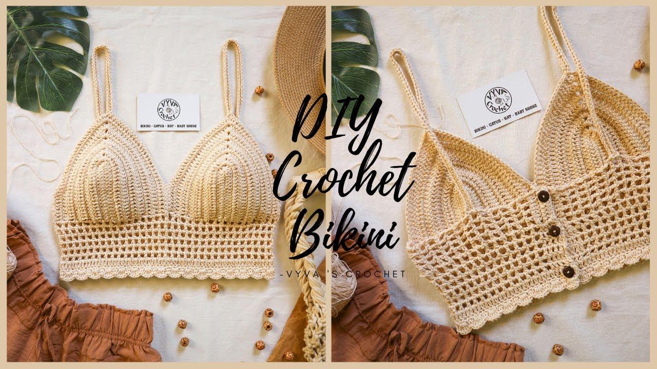 DIY Crochet Bikini| Hướng dẫn móc Bikini cúp ngực viền ren| Vyvascrochet
