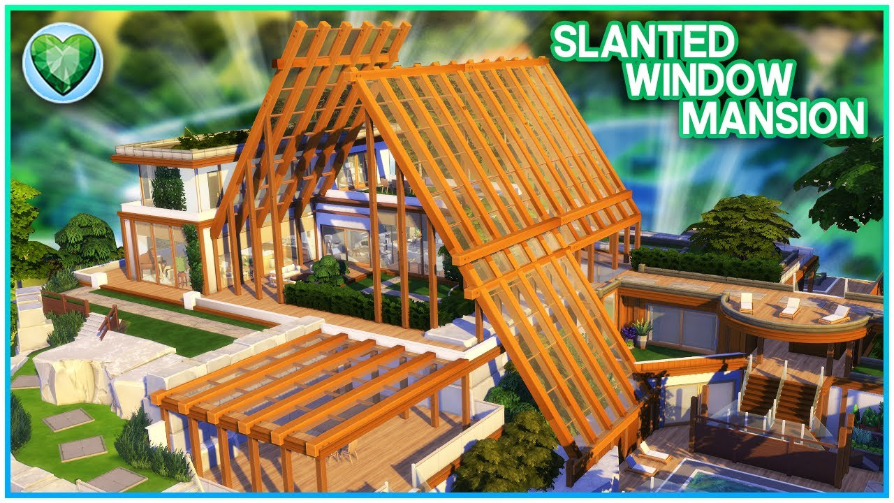 SLANTED WINDOW MANSION 💚 [NO CC] - Sims 4 Speed Build | Kate Emerald