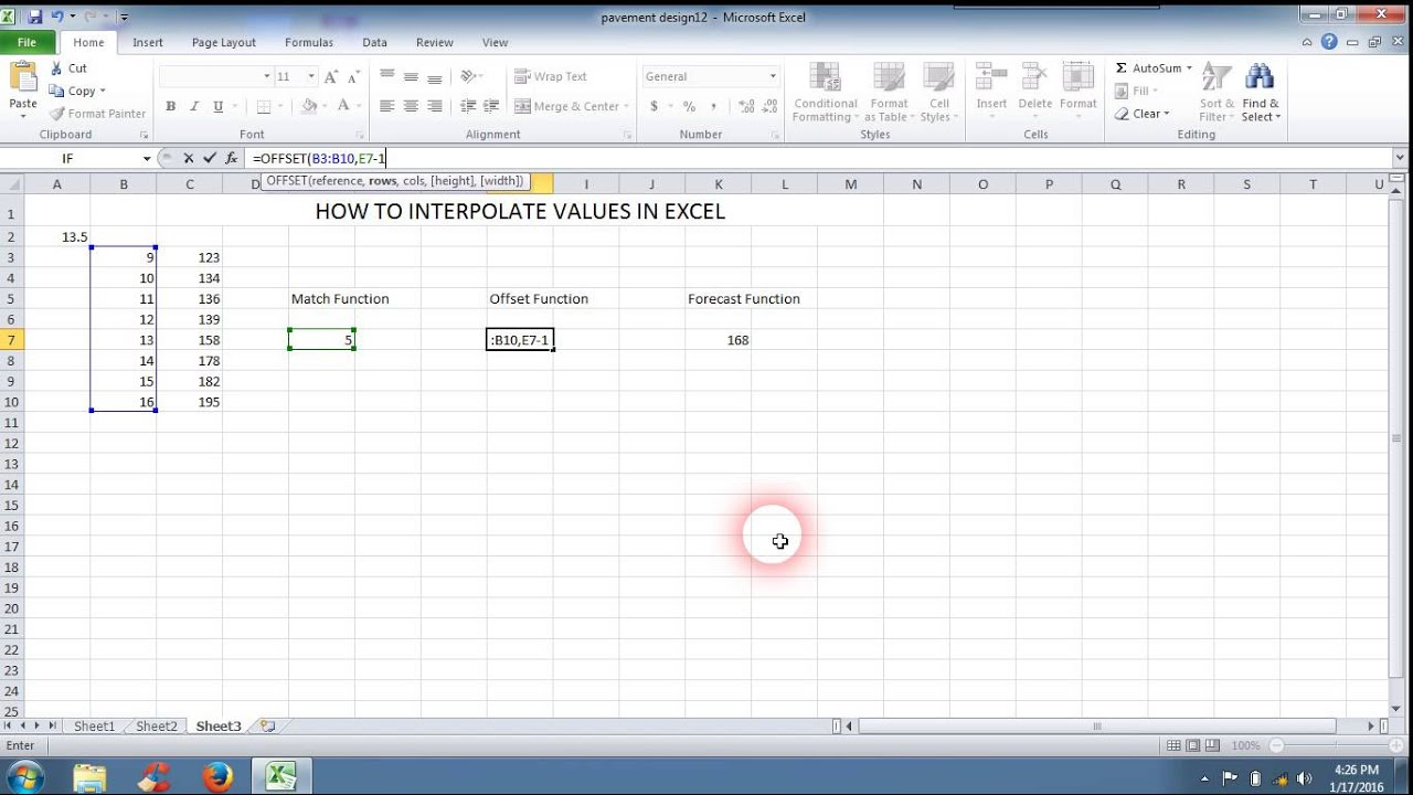 How to interpolate values in excel
