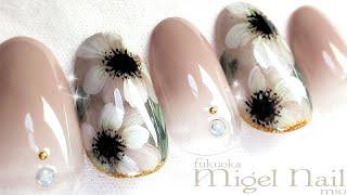 アネモネ♡ホワイト フラワーネイルアート /  White Anemone flower nailart