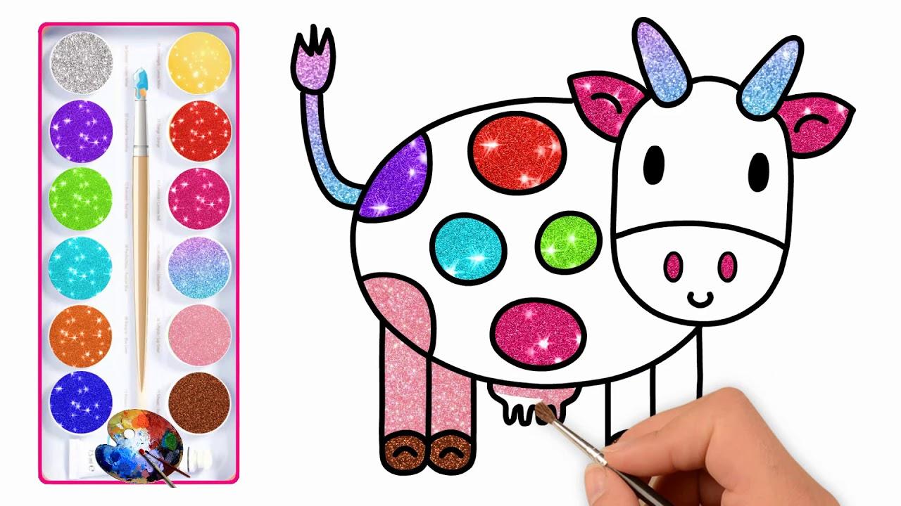 Desenhar E Colorir Uma Vaca Para Criancas Com Cor De Glitter