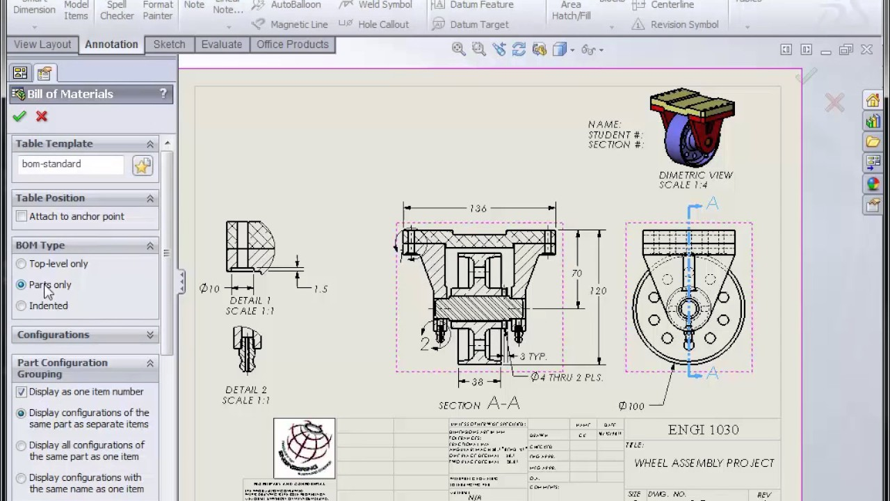 Solidworks Assembly Drawing Part Ii Youtube