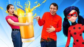 Кукла Леди Баг в смешном видео Челлендже - Угадай Сок! – Новые игры для девочек в видео онлайн.