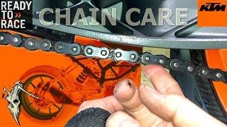 KTM 390 125 200 250 Duke Chain Maintenance - Clean, Adjust, Wear