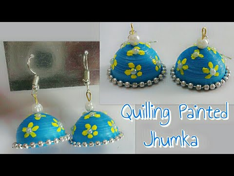 DIY Quilling Earrings/Quilling Painted Jhumka Earrings/How to make Quilling Floral Print Jhumka