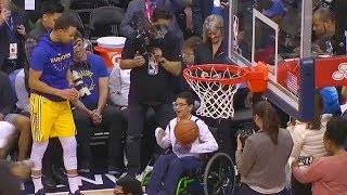 Stephen Curry Emotional Moment As He Plays Basketball With A Young Fan In Wheelchair Before The Game
