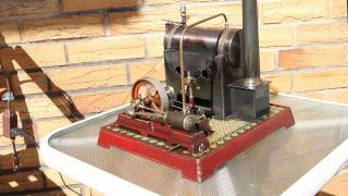 Steam engine Doll 367J circa 1910 running on a small air pump (~3 psi)
