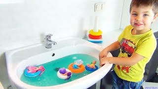 Baby Dolls Swimming in the BIG Sink