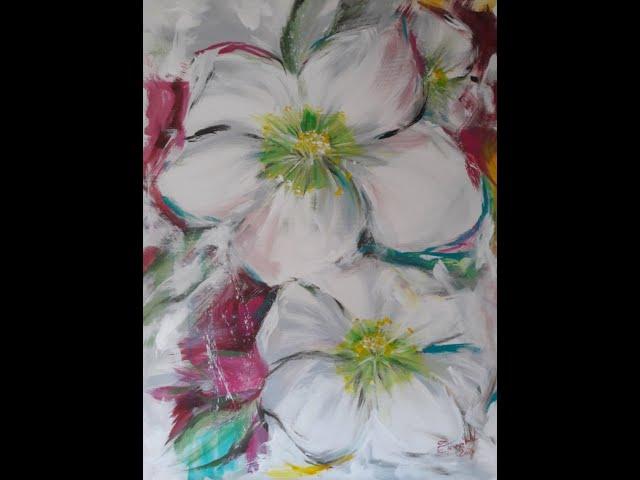 Elke malt - Christrose - über die Schulter geschaut