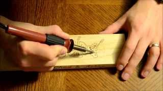 Wood Burning an Angled Wine Bottle Holder #1