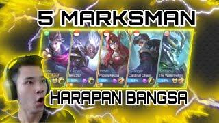 GILA BOSS!! 5 MARKSMAN HARAPAN BANGSA MENJADI SATU TEAM! MOBILE LEGENDS INDONESIA