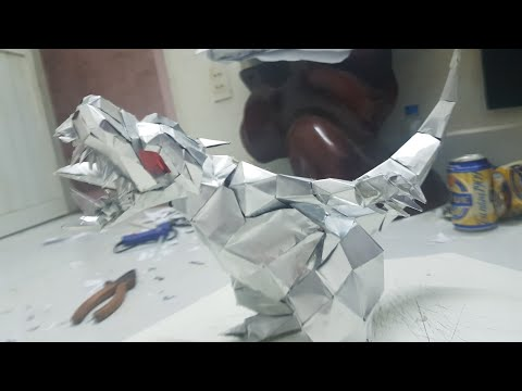 Chít Rung làm Mô hình khủng long bạo chúa làm bằng vỏ lon [ Video Stopmotion ]