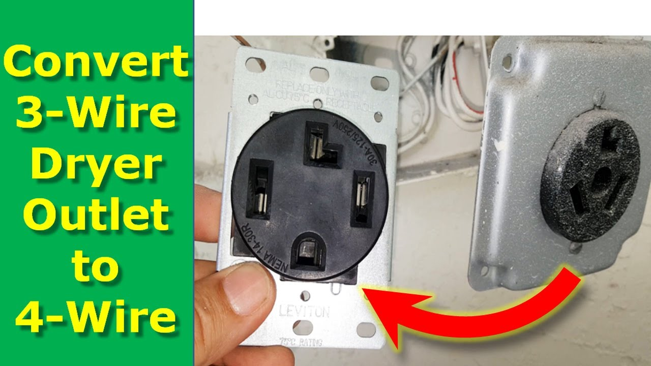 How To Convert 3 Wire Dryer Electrical Outlet to 4 Wire  Prong Receptacle Wiring Diagram Video on