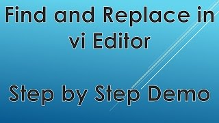 Find and Replace a word in vi editor ► Replacing Exact Word Demo