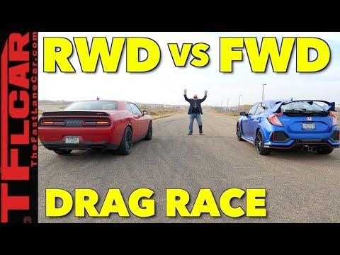 Muscle Takes on Tech: Honda Civic Type R vs Dodge Hellcat Drag Race