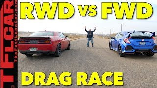 Muscle Takes on Tech: Honda Civic Type R vs Dodge Hellcat Drag Race