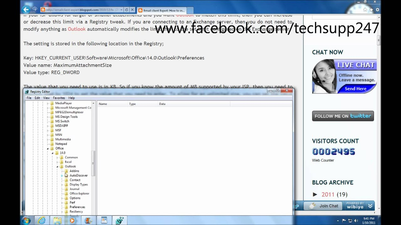 How to increase attachment size limit in Outlook 2010 - YouTube