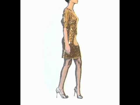 BCBG Marta Sequined Cocktail Dress