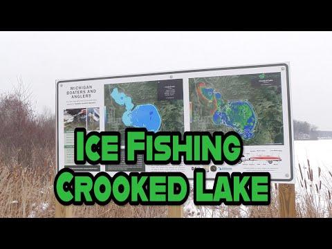 Ice Fishing At Crooked Lake Near Lake City Michigan