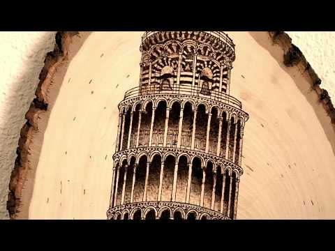 Pyrography (Wood Burning) of Tower of Pisa
