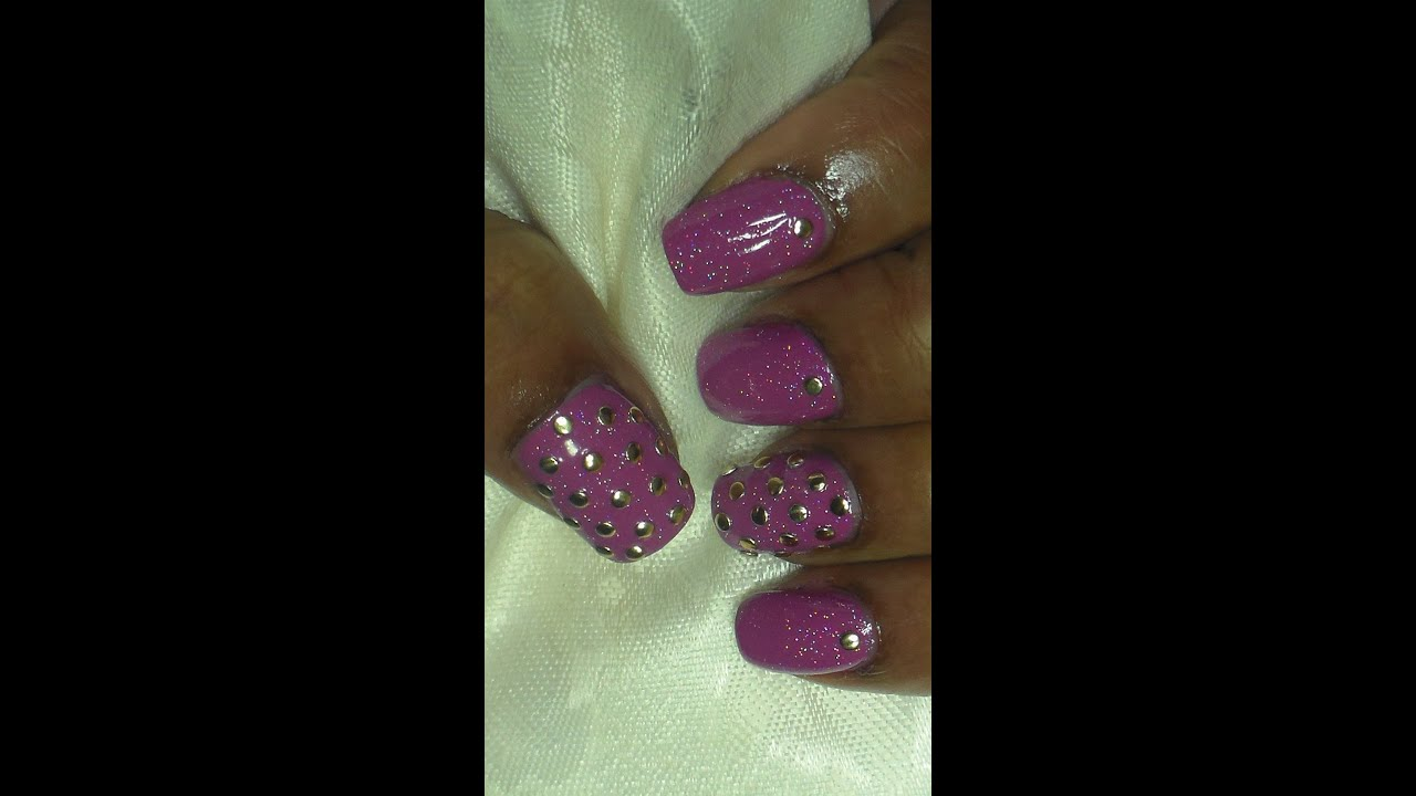 Simple Spring Studded Swag Nail Art Youtube
