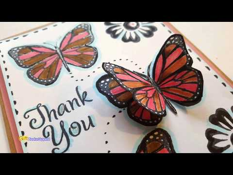 3D BUTTERFLY CARD | DOLLAR TREE FLOWER & BUTTERFLY STAMPS