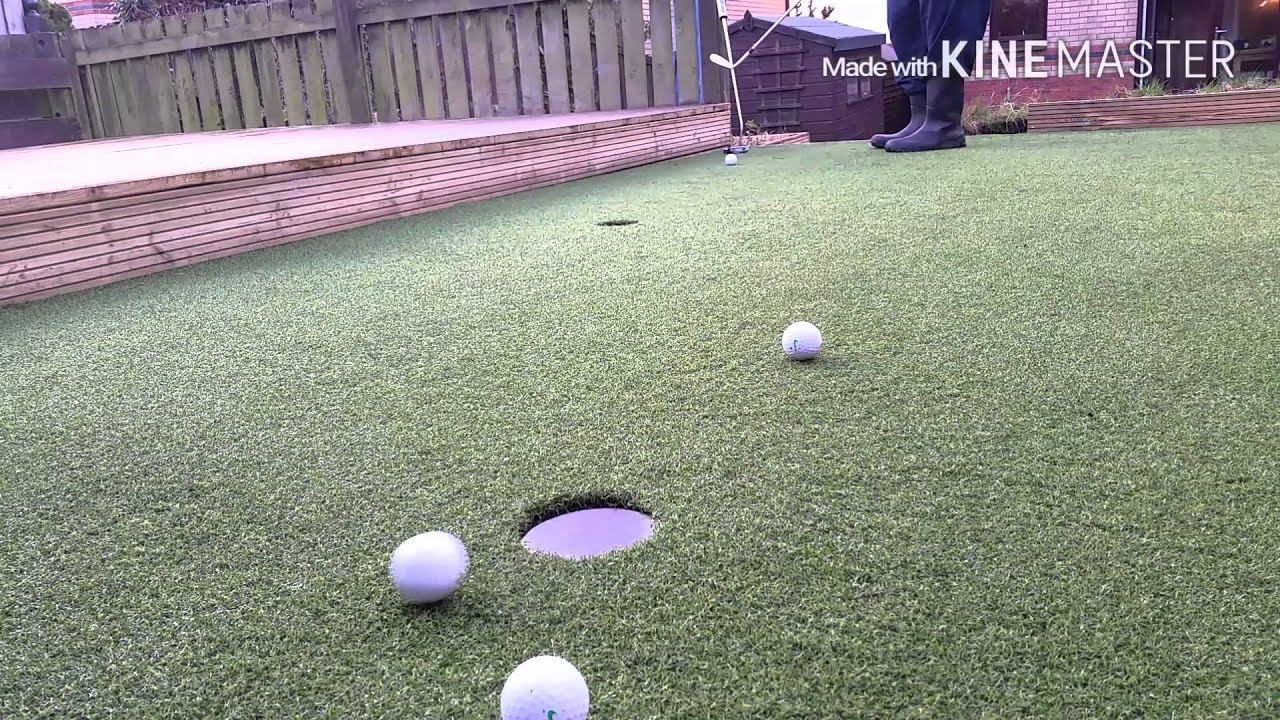 first practice on my newly fitted putting green in my back yard