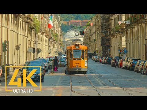 4K Turin, Italy - City Life Video with City Sounds - Top Ita
