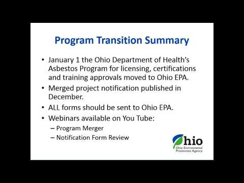 Afternoon Session - Asbestos Program Merger- Online Notification Form