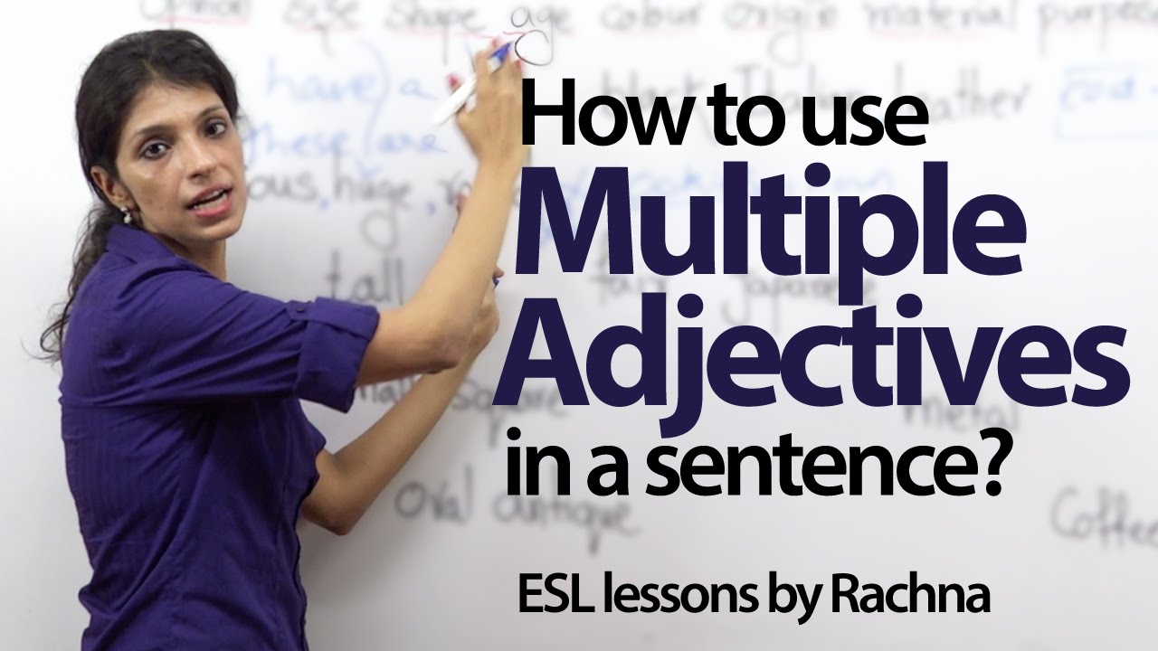 how to use multiple adjectives in a sentence english grammar lesson youtube