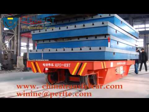 Metal industry steel transfer trolley on rails and tracks for heavy load