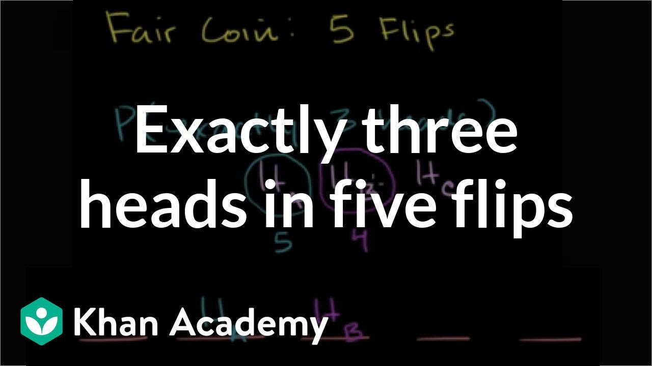 Exactly three heads in five flips (video) | Khan Academy