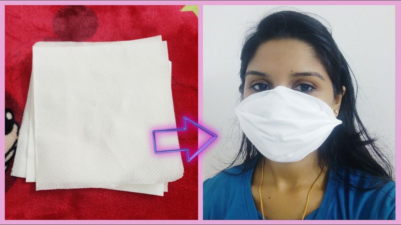 How to make DIY Surgical Face Mask using tissue paper   Corona virus /COVID 19  Malayalam