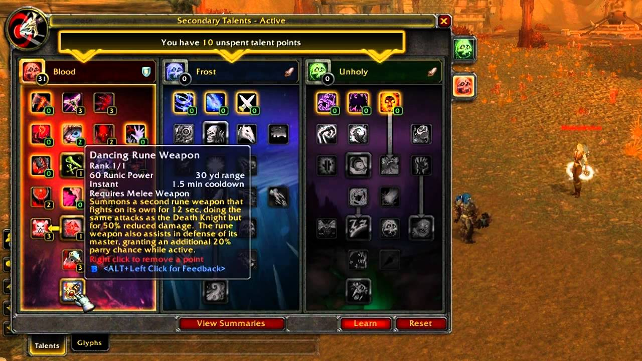Warcraft Cataclysm Blood Death Knight Tank Changes Talent Tree Revamp Ability Changes Youtube