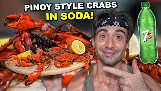Canadian Cooks Pinoy Butter Garlic Mud Crabs Boiled In 7-UP SODA | Filipino Recipe at Home