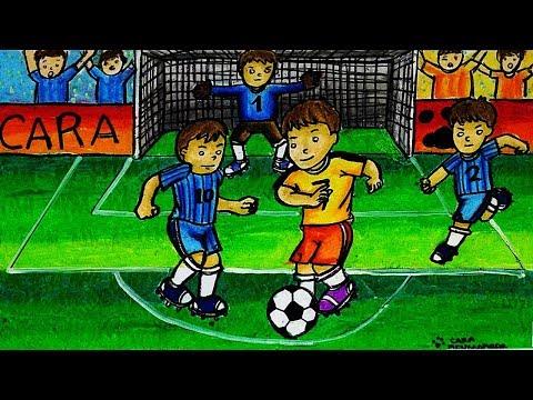 Cara Menggambar Dan Mewarnai Tema Olahraga Sepak Bola Dengan Crayon Oil Pastel Yang Bagus Dan Mudah Youtube