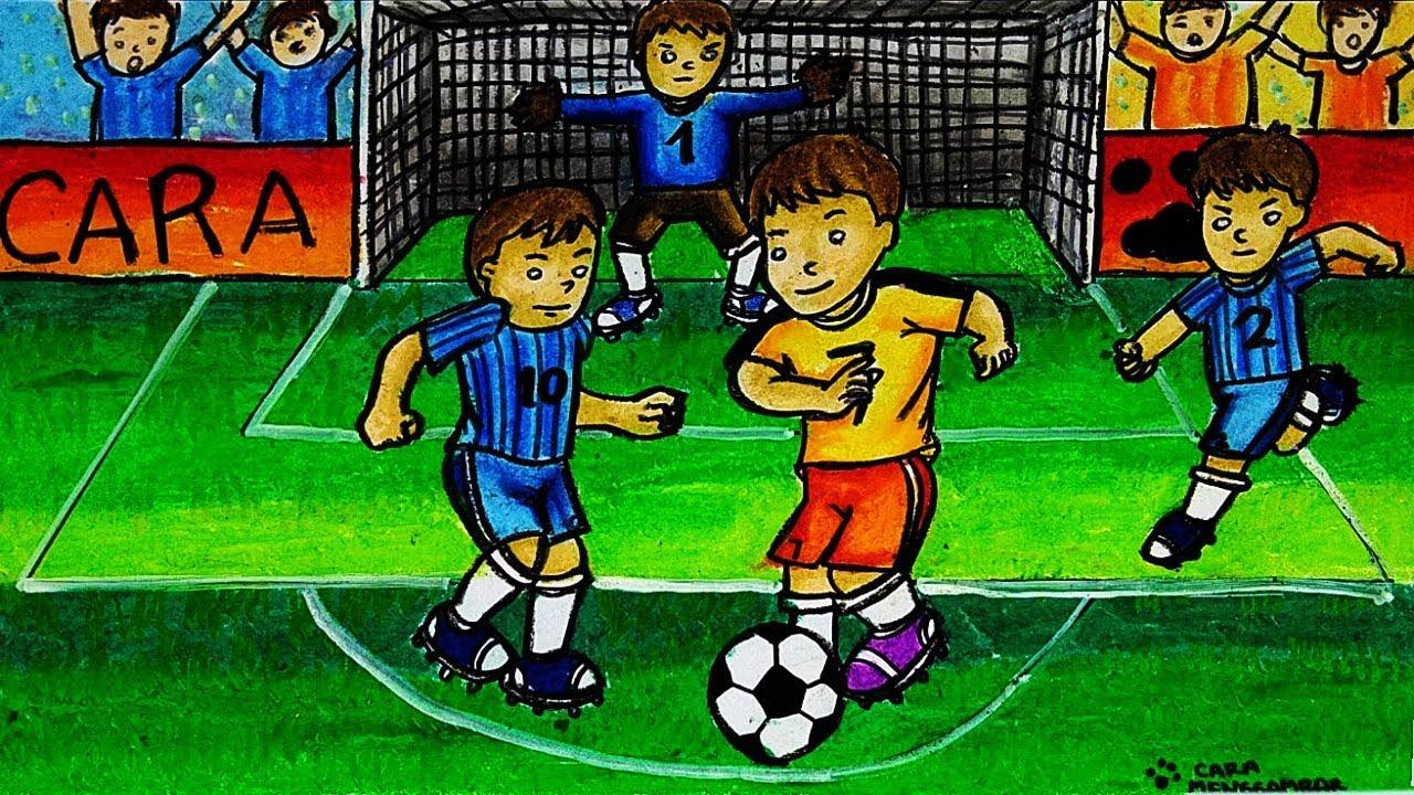 Cara Menggambar Dan Mewarnai TEMA Olahraga Sepak Bola
