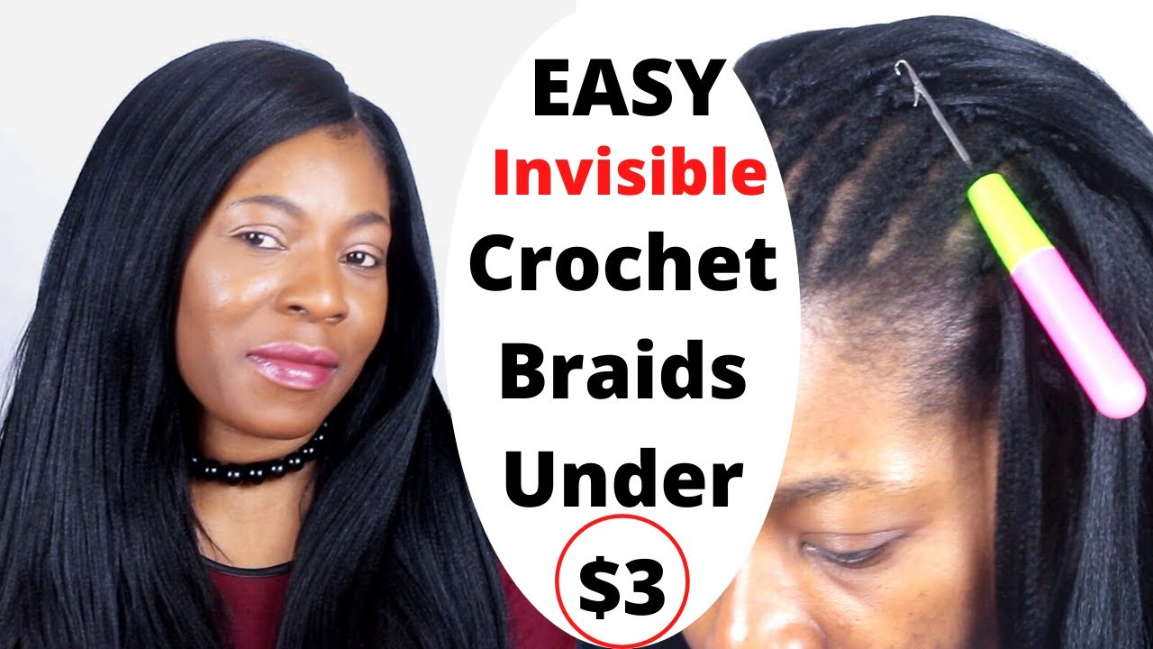 how to: crochet braids straight hair with invisible / knotless part